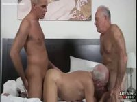 Three old men sucking and fucking each other